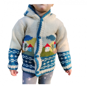 Vuneni dečiji džemper sa kućicama