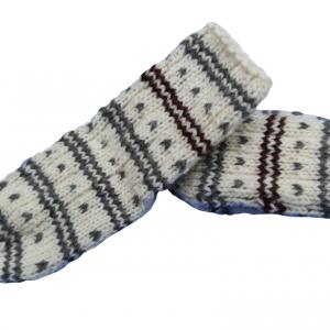 Vunene dečije čarape bele sa šarama