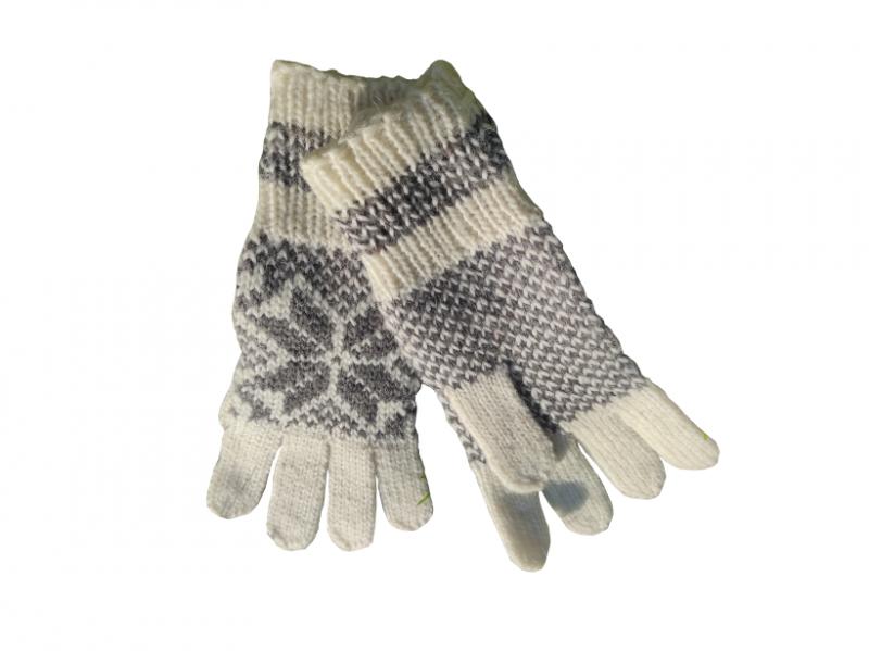 Vunene rukavice belo sive