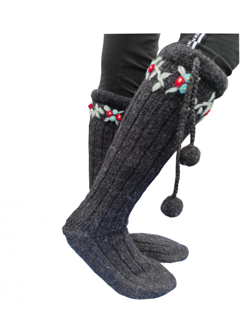 Vunene čarape duge sa kićankom